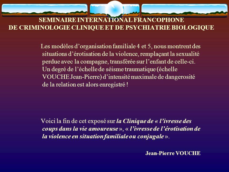SEMINAIRE INTERNATIONAL FRANCOPHONE DE CRIMINOLOGIE CLINIQUE ET DE PSYCHIATRIE BIOLOGIQUE Les modèles dorganisation familiale 4 et 5, nous montrent de