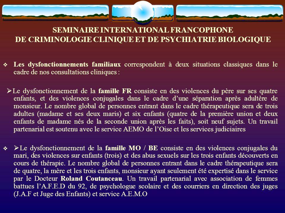 SEMINAIRE INTERNATIONAL FRANCOPHONE DE CRIMINOLOGIE CLINIQUE ET DE PSYCHIATRIE BIOLOGIQUE Les dysfonctionnements familiaux correspondent à deux situat