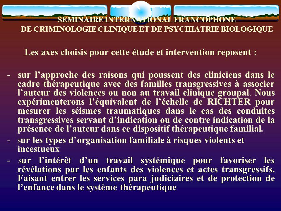 SEMINAIRE INTERNATIONAL FRANCOPHONE DE CRIMINOLOGIE CLINIQUE ET DE PSYCHIATRIE BIOLOGIQUE I.