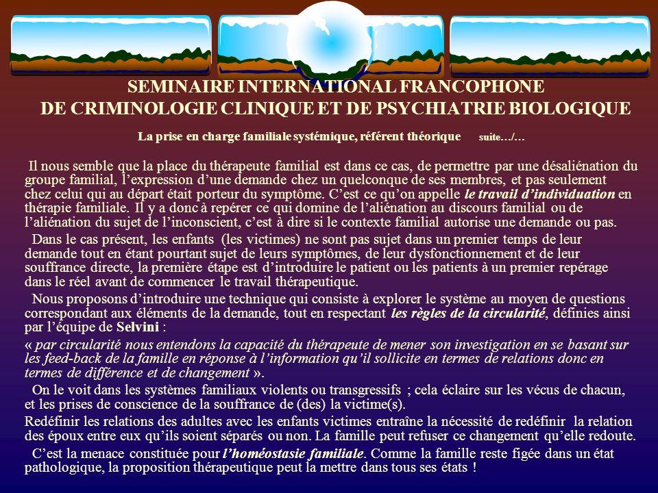 SEMINAIRE INTERNATIONAL FRANCOPHONE DE CRIMINOLOGIE CLINIQUE ET DE PSYCHIATRIE BIOLOGIQUE Cest le cas de la famille BR - HO de la Garenne Colombes.