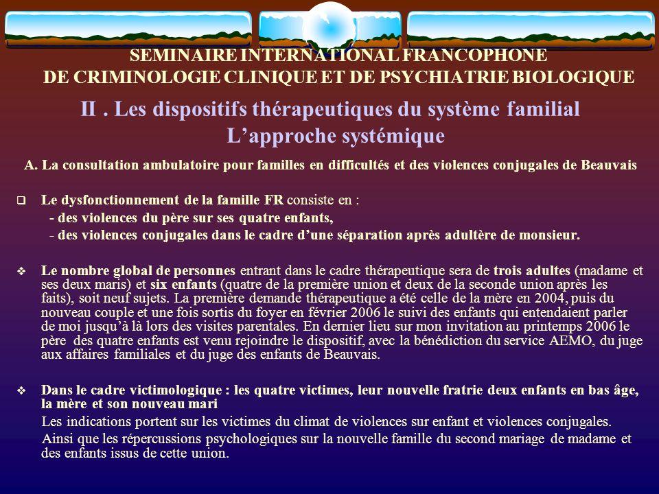SEMINAIRE INTERNATIONAL FRANCOPHONE DE CRIMINOLOGIE CLINIQUE ET DE PSYCHIATRIE BIOLOGIQUE Les partenaires (A.F.E.D, A.E.M.O, psychologue scolaire, et Avocats) inclus dans lapproche systémique Nous entretenons des échanges réguliers avec ces personnels, sur nos analyses respectives et la surveillance de la nécessaire distance entre les enfants et le père abuseur-violent, ainsi que la capacité maternelle de Mme MO à protéger ses enfants dune transgression de la part de son ex-conjoint.