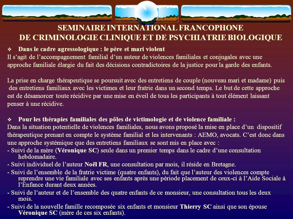 SEMINAIRE INTERNATIONAL FRANCOPHONE DE CRIMINOLOGIE CLINIQUE ET DE PSYCHIATRIE BIOLOGIQUE Les axes choisis pour cette étude et intervention reposent : 1.