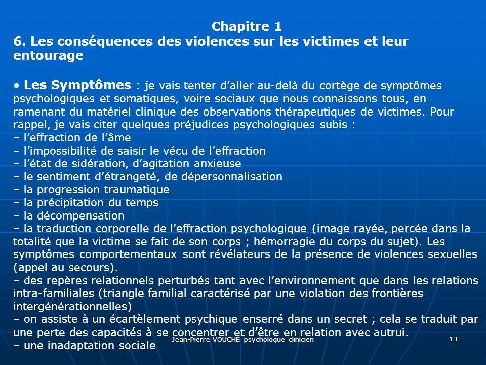 Jean-Pierre VOUCHE psychologue clinicien 13 Chapitre 1 6. Les conséquences des violences sur les victimes et leur entourage Les Symptômes : je vais te