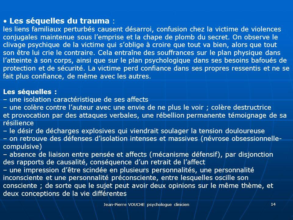 Jean-Pierre VOUCHE psychologue clinicien 14 Les séquelles du trauma : les liens familiaux perturbés causent désarroi, confusion chez la victime de vio