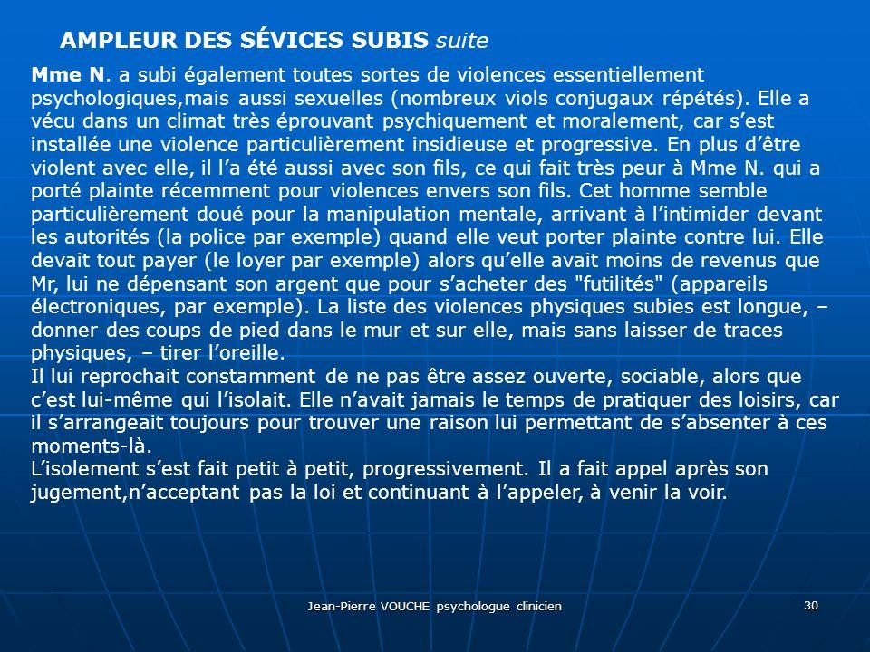Jean-Pierre VOUCHE psychologue clinicien 30 AMPLEUR DES SÉVICES SUBIS suite Mme N. a subi également toutes sortes de violences essentiellement psychol