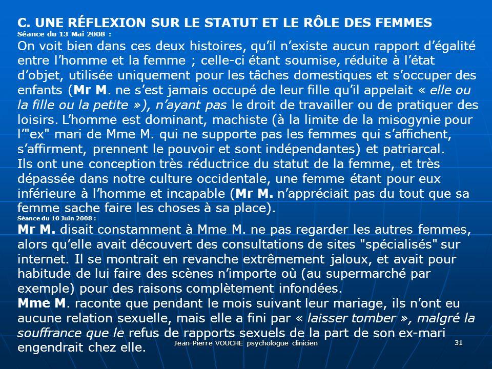 Jean-Pierre VOUCHE psychologue clinicien 31 C. UNE RÉFLEXION SUR LE STATUT ET LE RÔLE DES FEMMES Séance du 13 Mai 2008 : On voit bien dans ces deux hi
