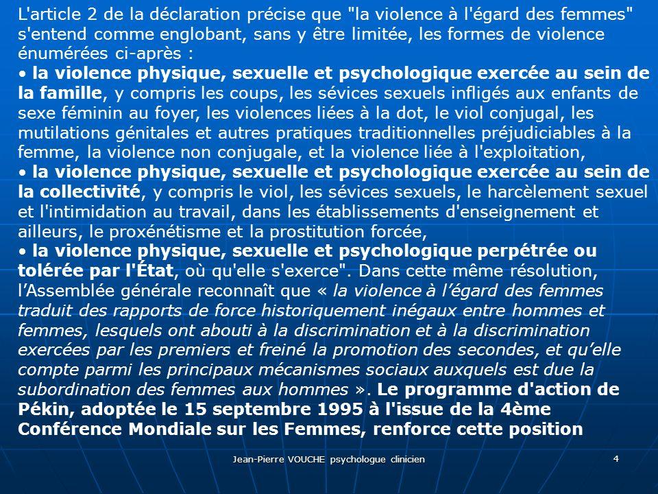 Jean-Pierre VOUCHE psychologue clinicien 5 La résolution 58/147 du 19 février 2004 de l Assemblée Générale de l ONU sur l élimination de la violence familiale à l égard des femmes considère que la violence familiale : a) est une violence qui se produit dans la sphère privée, généralement entre des individus liés par le sang ou la vie commune, b) est l une des formes les plus courantes et les moins visibles de la violence contre les femmes et qu elle a des retentissements dans de nombreux domaines de la vie des victimes, c) peut prendre de nombreuses formes, physiques, psychologiques ou sexuelles, d) est une question d intérêt général qui exige des États qu ils prennent des mesures sérieuses pour protéger les victimes et empêcher cette violence, e) peut comprendre la privation et l isolement économiques risquant de porter atteinte de manière imminente à la sécurité, à la santé ou au bien- être des femmes. La définition de lOMS relative aux violences au sein du couple inclut les actes dagression physique comme les coups de poing ou de pied, les rapports sexuels imposés et dautres types de coercition sexuelle, les formes de harcèlement psychologique comme intimidations ou humiliations, ainsi que les comportements de contrainte comme isoler une personne de sa famille et de ses amis ou lui restreindre laccès à une information ou à une assistance.