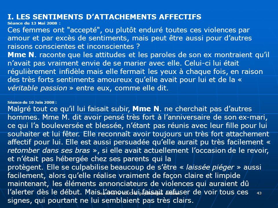 Jean-Pierre VOUCHE psychologue clinicien 43 I. LES SENTIMENTS DATTACHEMENTS AFFECTIFS Séance du 13 Mai 2008 : Ces femmes ont