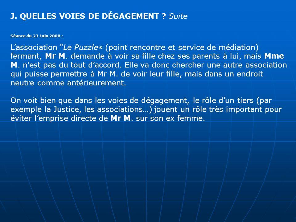 J. QUELLES VOIES DE DÉGAGEMENT ? Suite Séance du 23 Juin 2008 : Lassociation
