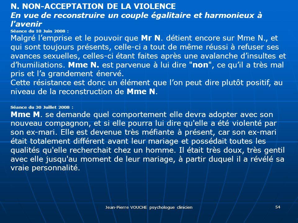 Jean-Pierre VOUCHE psychologue clinicien 54 N. NON-ACCEPTATION DE LA VIOLENCE En vue de reconstruire un couple égalitaire et harmonieux à l'avenir Séa