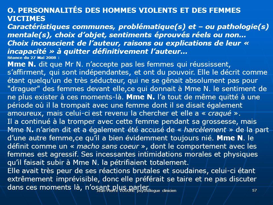 Jean-Pierre VOUCHE psychologue clinicien 57 O. PERSONNALITÉS DES HOMMES VIOLENTS ET DES FEMMES VICTIMES Caractéristiques communes, problématique(s) et