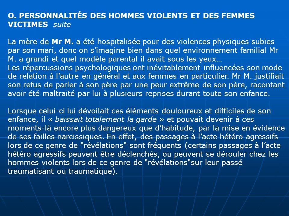 O. PERSONNALITÉS DES HOMMES VIOLENTS ET DES FEMMES VICTIMES suite La mère de Mr M. a été hospitalisée pour des violences physiques subies par son mari
