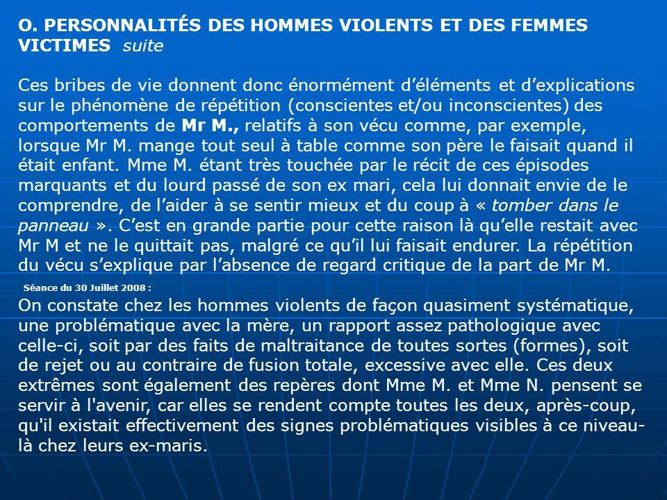 O. PERSONNALITÉS DES HOMMES VIOLENTS ET DES FEMMES VICTIMES suite Ces bribes de vie donnent donc énormément déléments et dexplications sur le phénomèn