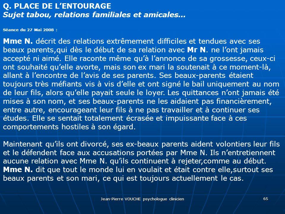 Jean-Pierre VOUCHE psychologue clinicien 65 Q. PLACE DE LENTOURAGE Sujet tabou, relations familiales et amicales… Séance du 27 Mai 2008 : Mme N. décri