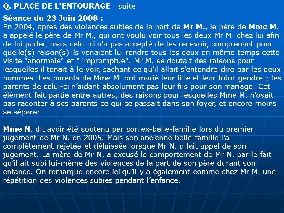Q. PLACE DE LENTOURAGE suite Séance du 23 Juin 2008 : En 2004, après des violences subies de la part de Mr M., le père de Mme M. a appelé le père de M