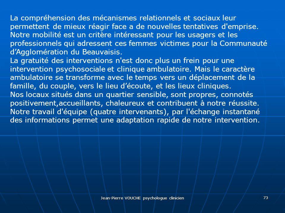 Jean-Pierre VOUCHE psychologue clinicien 73 La compréhension des mécanismes relationnels et sociaux leur permettent de mieux réagir face a de nouvelle