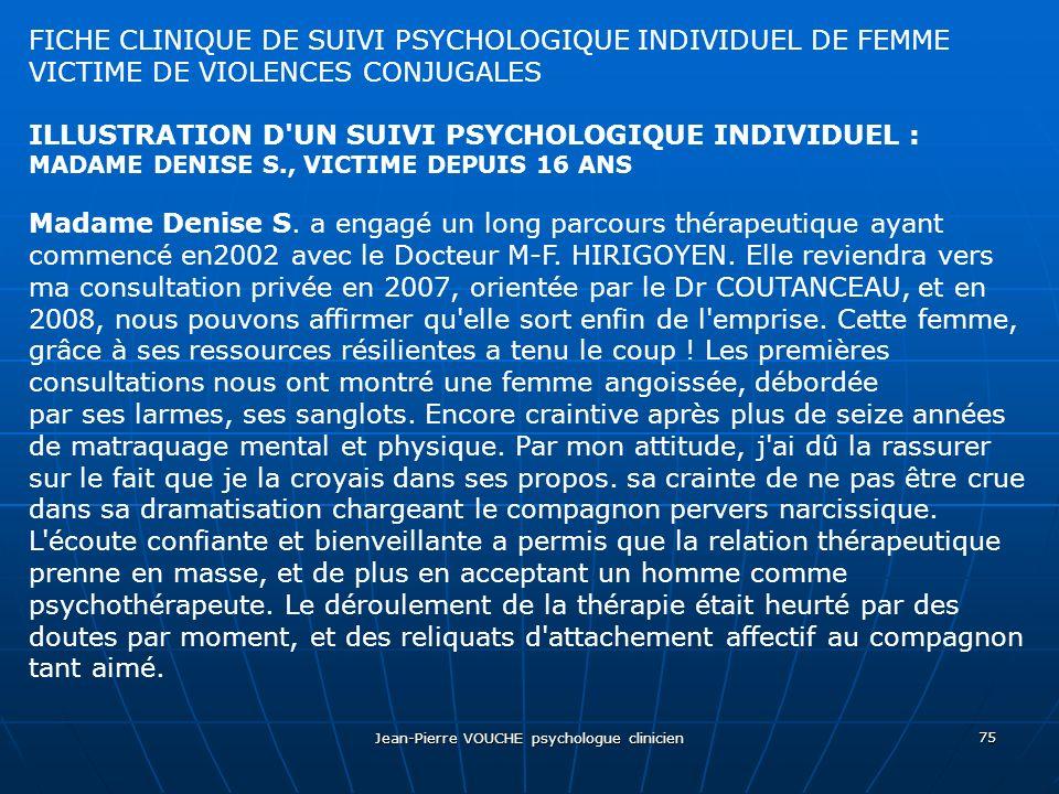 Jean-Pierre VOUCHE psychologue clinicien 75 FICHE CLINIQUE DE SUIVI PSYCHOLOGIQUE INDIVIDUEL DE FEMME VICTIME DE VIOLENCES CONJUGALES ILLUSTRATION D'U
