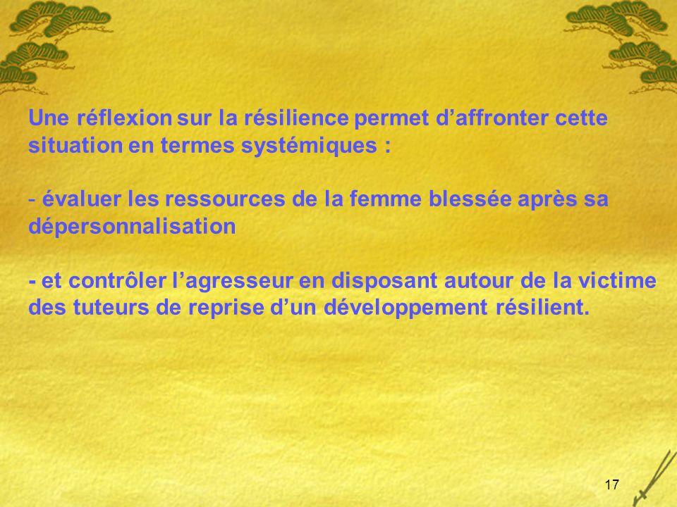 17 Une réflexion sur la résilience permet daffronter cette situation en termes systémiques : - évaluer les ressources de la femme blessée après sa dép