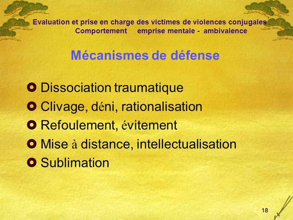 18 Mécanismes de défense Dissociation traumatique Clivage, d é ni, rationalisation Refoulement, é vitement Mise à distance, intellectualisation Sublim