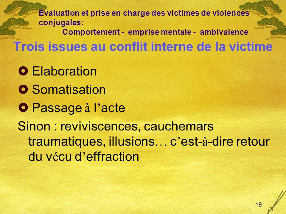 19 Trois issues au conflit interne de la victime Elaboration Somatisation Passage à l acte Sinon : reviviscences, cauchemars traumatiques, illusions …