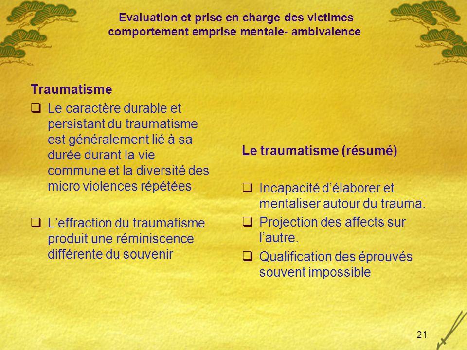 Evaluation et prise en charge des victimes comportement emprise mentale- ambivalence Traumatisme Le caractère durable et persistant du traumatisme est