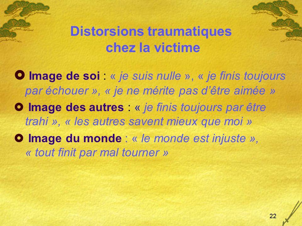 22 Distorsions traumatiques chez la victime Image de soi : « je suis nulle », « je finis toujours par échouer », « je ne mérite pas dêtre aimée » Imag