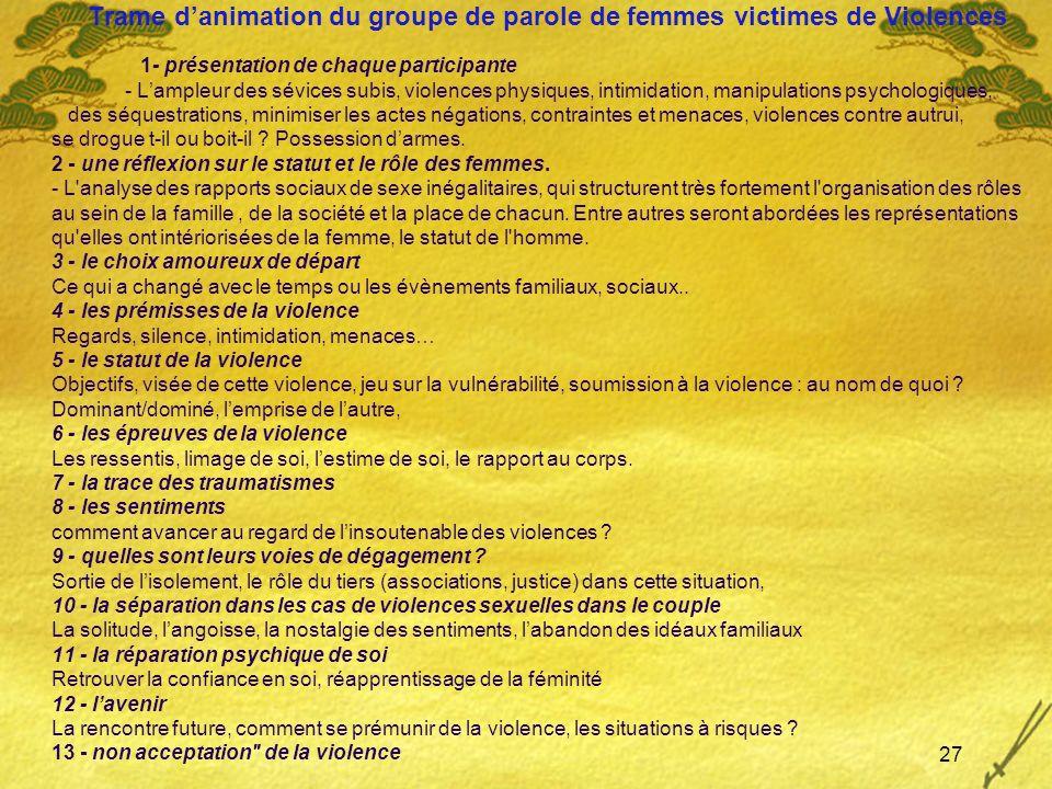 Trame danimation du groupe de parole de femmes victimes de Violences 1- présentation de chaque participante - Lampleur des sévices subis, violences ph