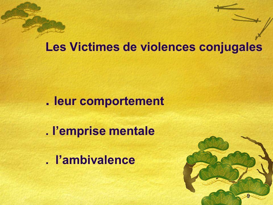 9 Les Victimes de violences conjugales. leur comportement. lemprise mentale. lambivalence 9