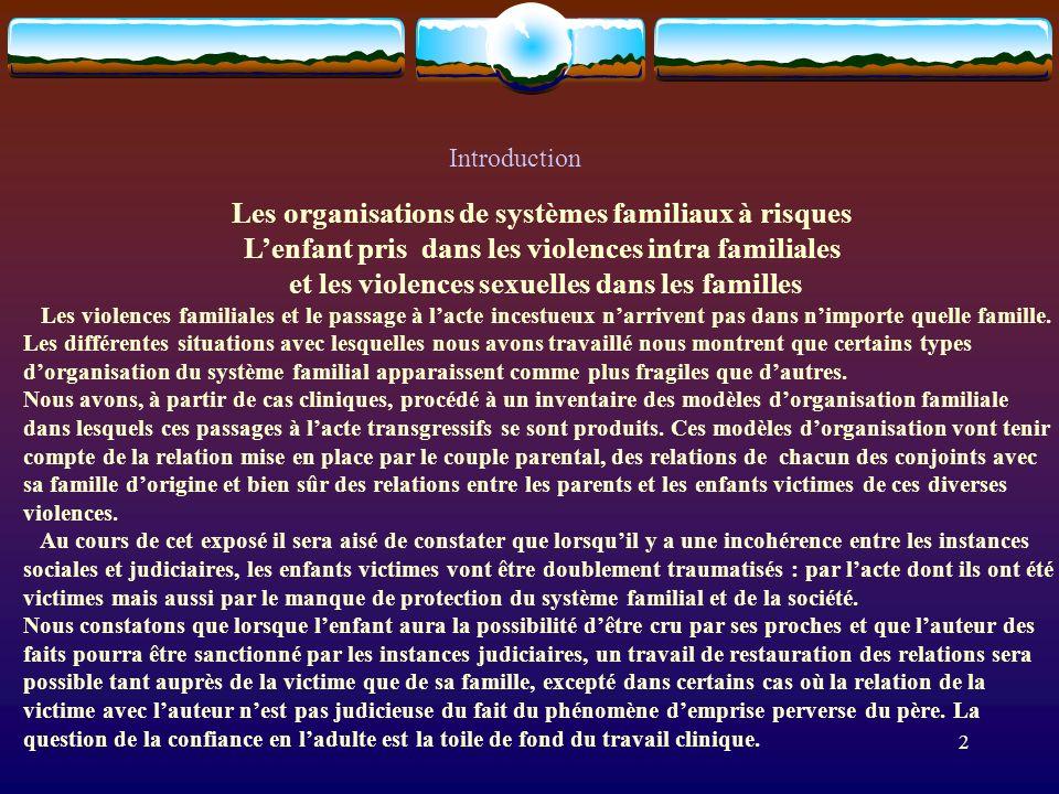 Introduction Les organisations de systèmes familiaux à risques Lenfant pris dans les violences intra familiales et les violences sexuelles dans les fa