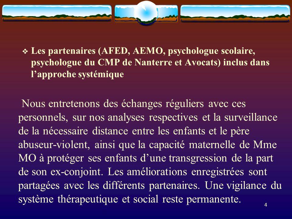 Les partenaires (AFED, AEMO, psychologue scolaire, psychologue du CMP de Nanterre et Avocats) inclus dans lapproche systémique Nous entretenons des éc