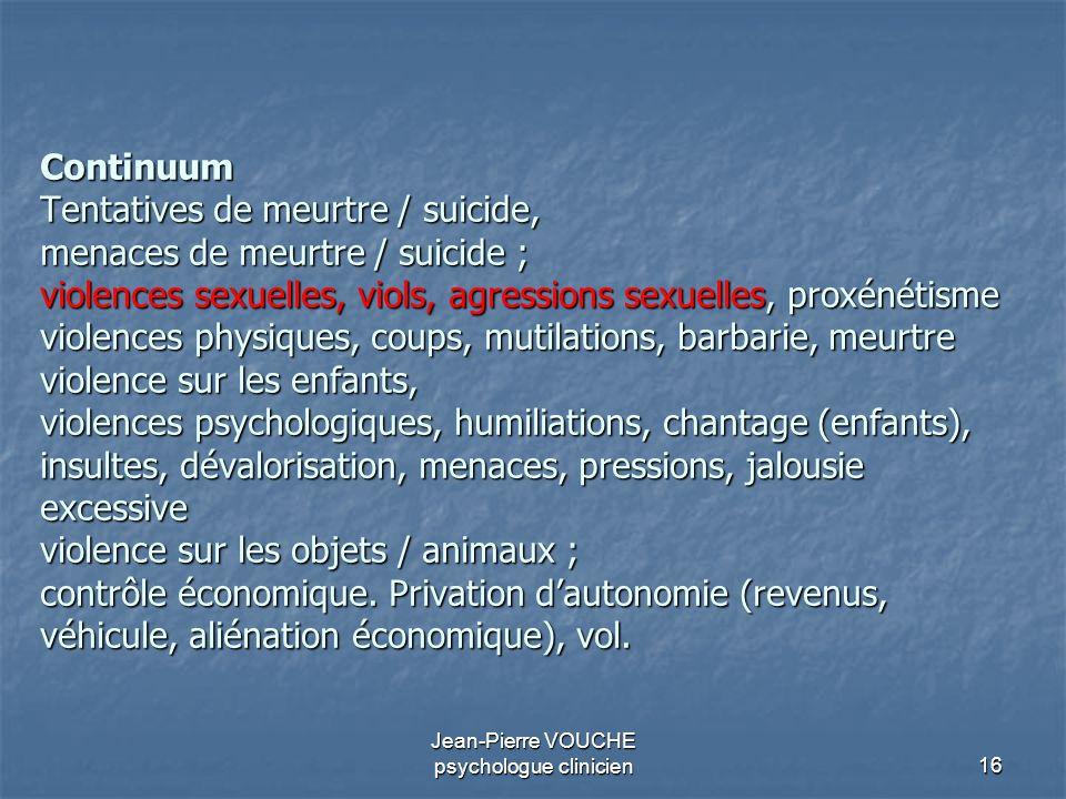 16 Jean-Pierre VOUCHE psychologue clinicien Continuum Tentatives de meurtre / suicide, menaces de meurtre / suicide ; violences sexuelles, viols, agre