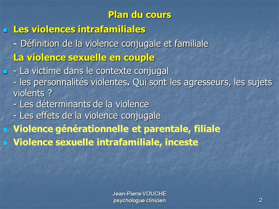 3 Les violences intrafamiliales - Définition de la violence conjugale et familiale - La victime dans le contexte conjugal - les personnalités violentes.