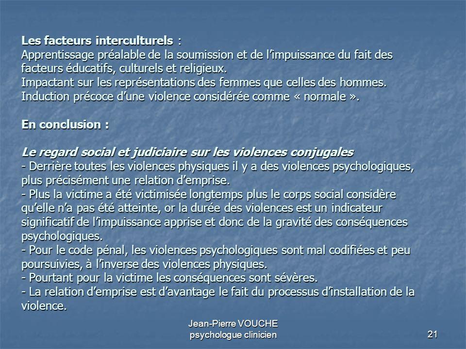 21 Jean-Pierre VOUCHE psychologue clinicien Les facteurs interculturels : Apprentissage préalable de la soumission et de limpuissance du fait des fact