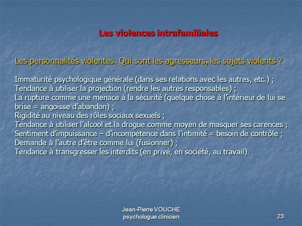 23 Jean-Pierre VOUCHE psychologue clinicien Les violences intrafamiliales Les personnalités violentes. Qui sont les agresseurs, les sujets violents ?