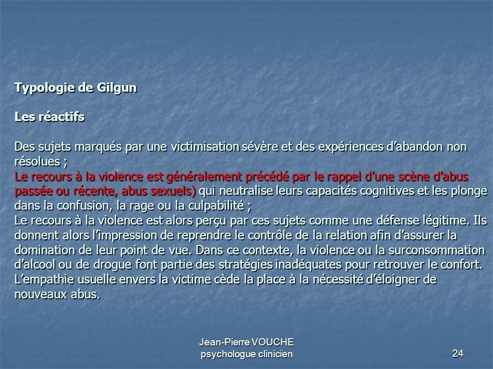 24 Jean-Pierre VOUCHE psychologue clinicien Typologie de Gilgun Les réactifs Des sujets marqués par une victimisation sévère et des expériences daband