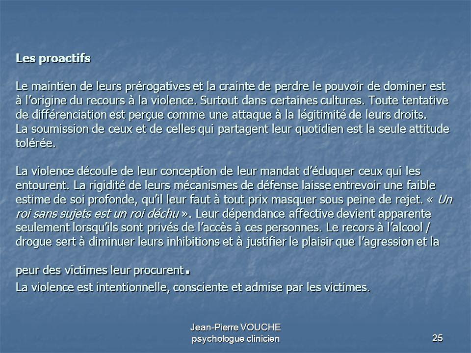 25 Jean-Pierre VOUCHE psychologue clinicien Les proactifs Le maintien de leurs prérogatives et la crainte de perdre le pouvoir de dominer est à lorigi