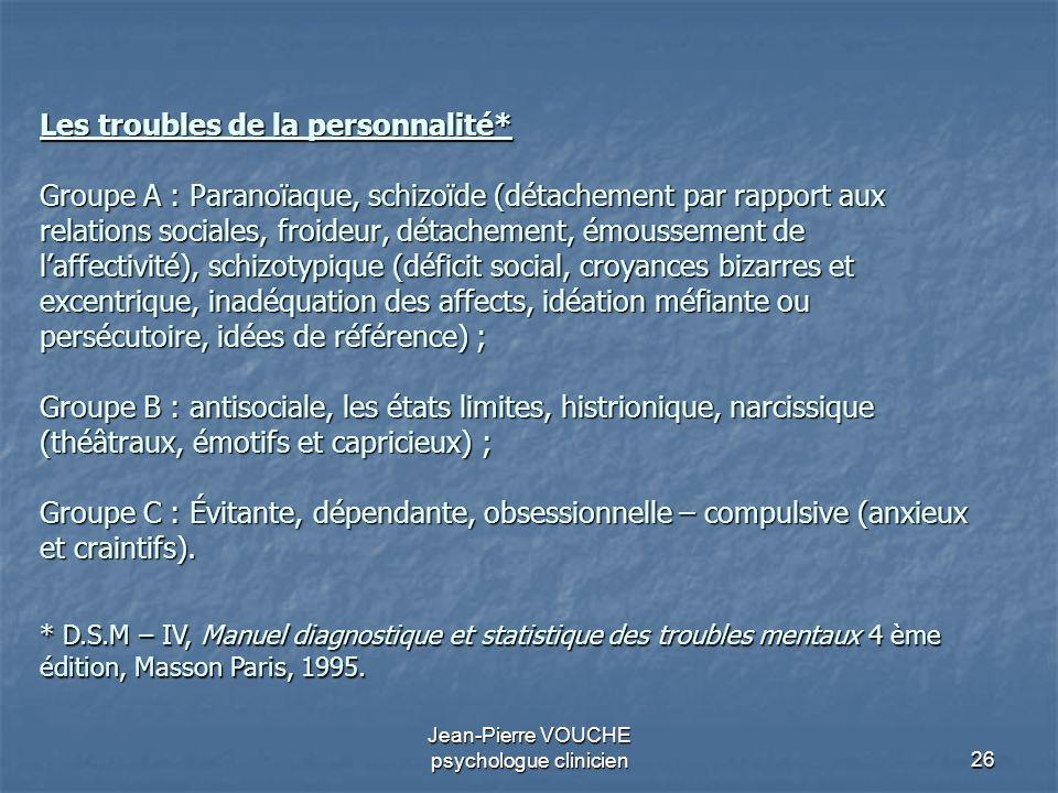 26 Jean-Pierre VOUCHE psychologue clinicien Les troubles de la personnalité* Groupe A : Paranoïaque, schizoïde (détachement par rapport aux relations