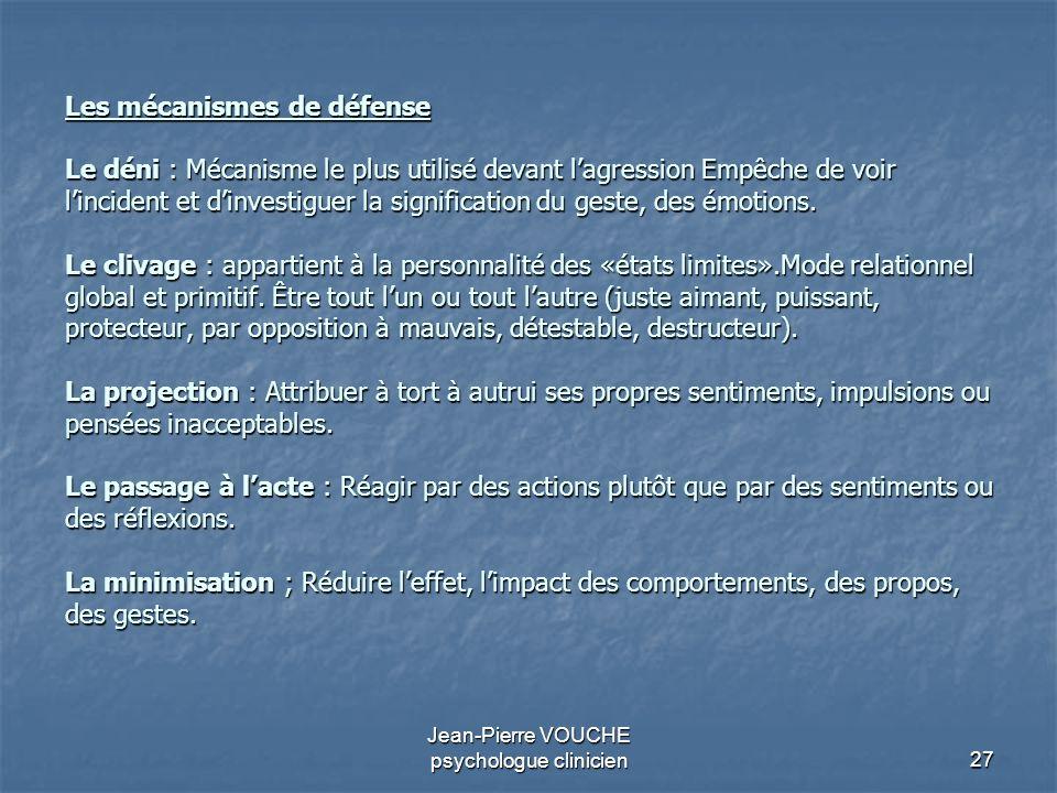 27 Jean-Pierre VOUCHE psychologue clinicien Les mécanismes de défense Le déni : Mécanisme le plus utilisé devant lagression Empêche de voir lincident