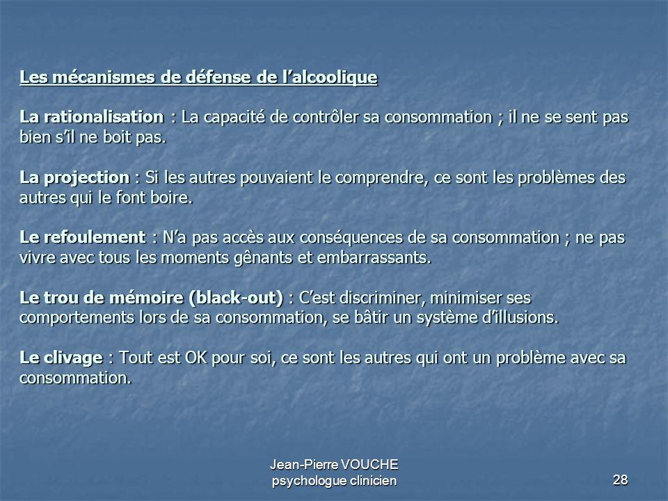 28 Jean-Pierre VOUCHE psychologue clinicien Les mécanismes de défense de lalcoolique La rationalisation : La capacité de contrôler sa consommation ; i