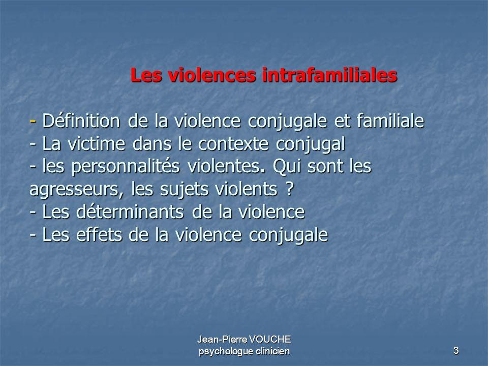 3 Les violences intrafamiliales - Définition de la violence conjugale et familiale - La victime dans le contexte conjugal - les personnalités violente