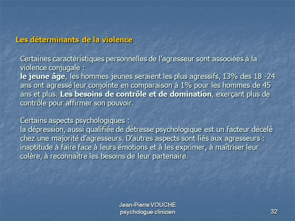 32 Jean-Pierre VOUCHE psychologue clinicien Certaines caractéristiques personnelles de lagresseur sont associées à la violence conjugale : le jeune âg