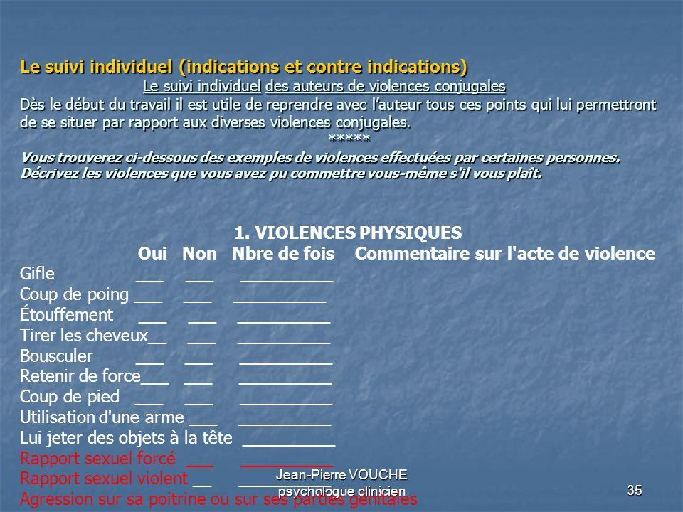 35 Jean-Pierre VOUCHE psychologue clinicien Le suivi individuel (indications et contre indications) Le suivi individuel des auteurs de violences conju