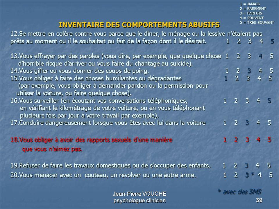 39 Jean-Pierre VOUCHE psychologue clinicien 12.Se mettre en colère contre vous parce que le dîner, le ménage ou la lessive n'étaient pas prêts au mome