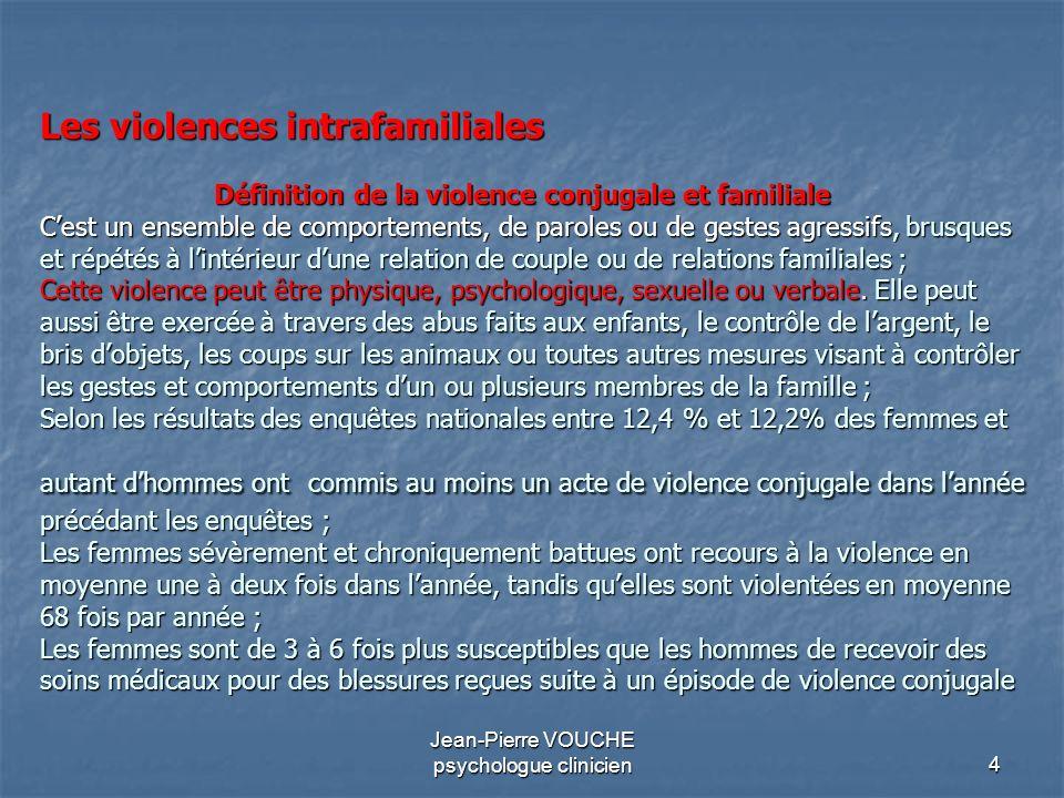 4 Jean-Pierre VOUCHE psychologue clinicien Les violences intrafamiliales Définition de la violence conjugale et familiale Cest un ensemble de comporte