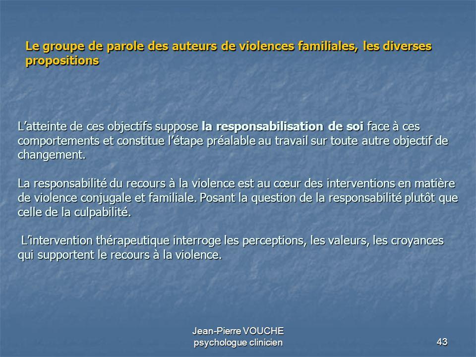 43 Jean-Pierre VOUCHE psychologue clinicien Latteinte de ces objectifs suppose la responsabilisation de soi face à ces comportements et constitue léta