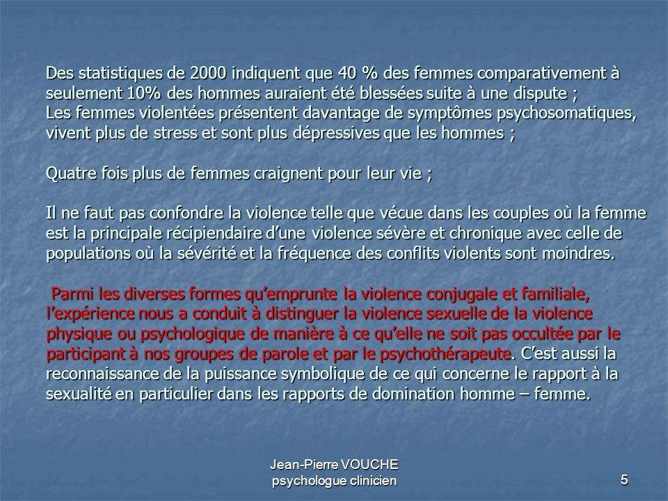 5 Jean-Pierre VOUCHE psychologue clinicien Des statistiques de 2000 indiquent que 40 % des femmes comparativement à seulement 10% des hommes auraient