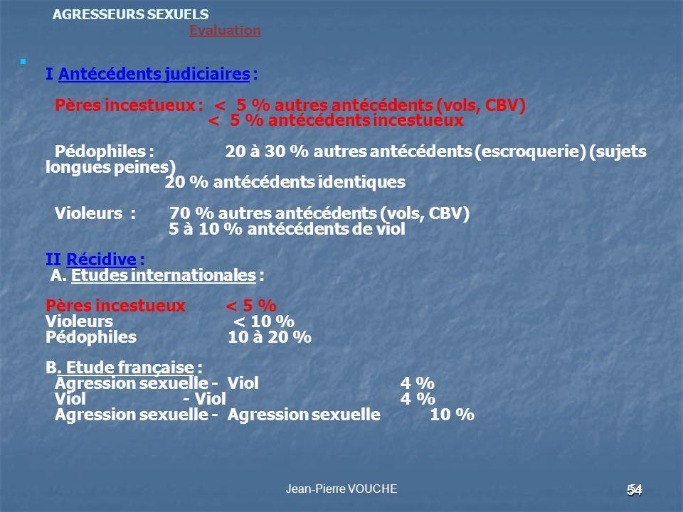 54 AGRESSEURS SEXUELS Evaluation I Antécédents judiciaires : Pères incestueux : < 5 % autres antécédents (vols, CBV) < 5 % antécédents incestueux Pédo