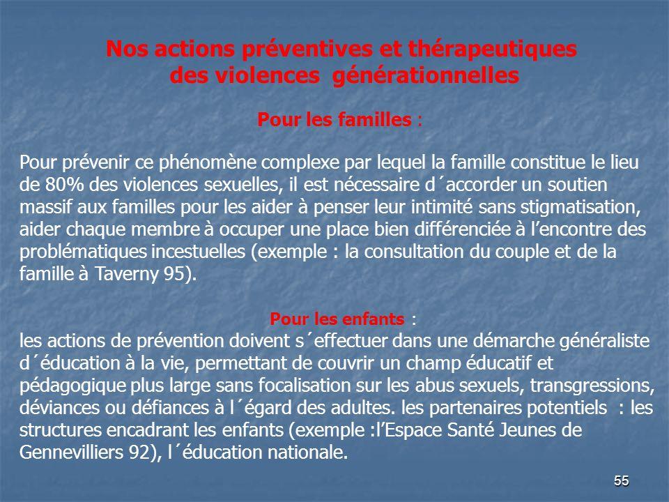 55 Nos actions préventives et thérapeutiques des violences générationnelles Pour les familles : Pour prévenir ce phénomène complexe par lequel la fami
