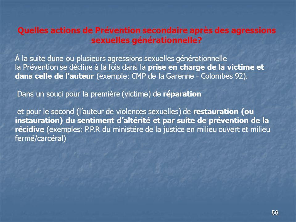 56 Quelles actions de Prévention secondaire après des agressions sexuelles générationnelle? À la suite dune ou plusieurs agressions sexuelles générati
