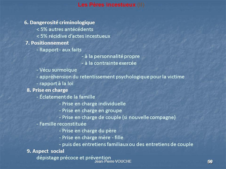 59 Jean-Pierre VOUCHE 59 Les Pères incestueux (II) 6. Dangerosité criminologique < 5% autres antécédents < 5% récidive dactes incestueux 7. Positionne